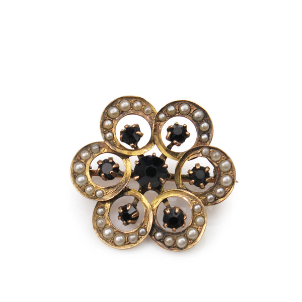 14ct Yellow Gold Onyx and Pearl Brooch