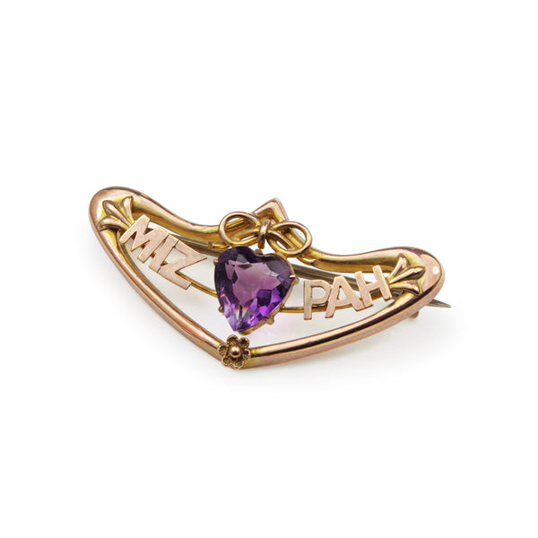 9ct Rose Gold Amethyst MIZPAH Brooch