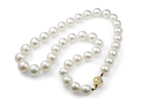 10 - 12mm South Sea Pearl Necklace on 14ct Yellow Gold Diamond Clasp