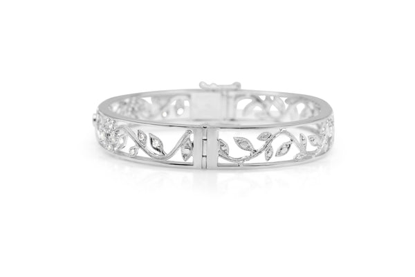 9ct White Gold Diamond Floral Bangle