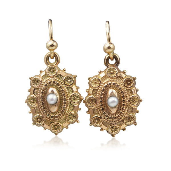 9ct Yellow and Rose Gold Antique Pearl Drop Earrings