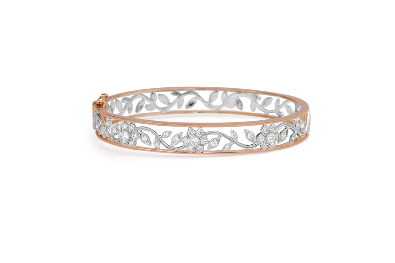 9ct Rose and White Gold Diamond Floral Bangle