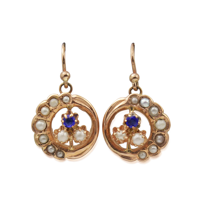 18ct Antique Rose Gold Pearl and Sapphire Earrings