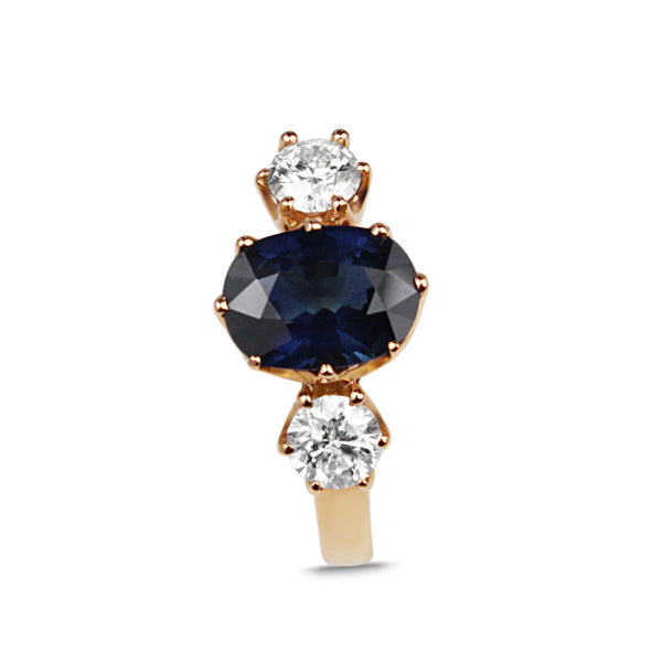 18ct Rose Gold Sapphire and Diamond Ring