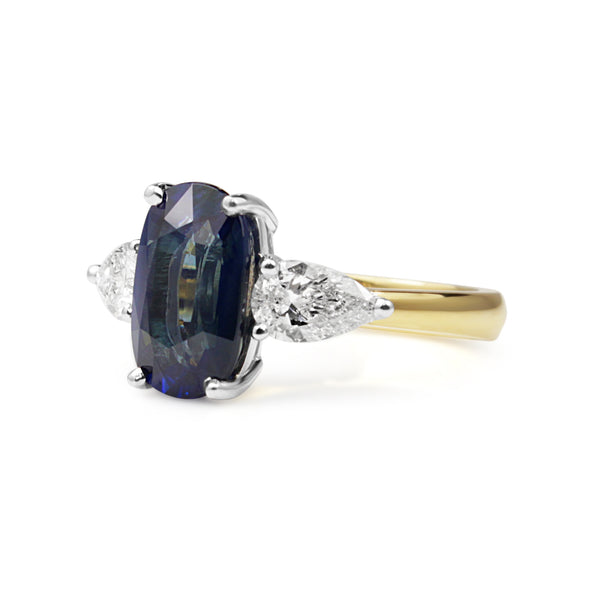 18ct Yellow and White Gold Sapphire and Diamond Ring
