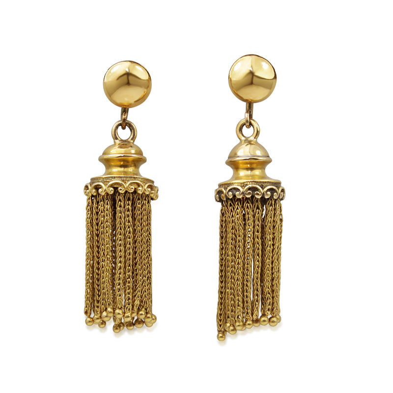 18ct Yellow Gold Antique Tassel Earrings
