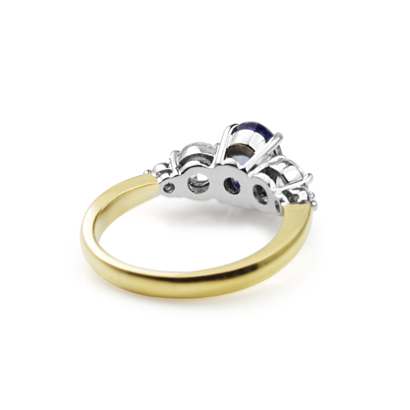 18ct Yellow and White Gold 5 Stone Sapphire and Diamond Ring