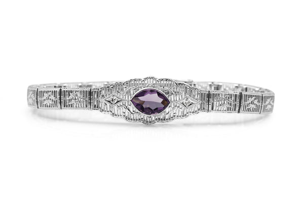 14ct White Gold Amethyst and Diamond Art Deco Bracelet