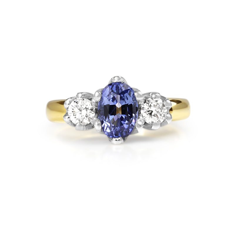 18ct Yellow and White Gold 3 Stone Sapphire and Diamond Ring