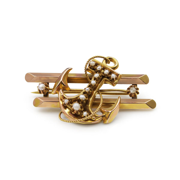 15ct Yellow Gold Antique Anchor Brooch