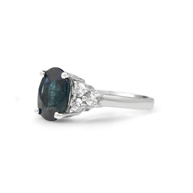 18ct White Gold Teal Sapphire and Diamond Ring