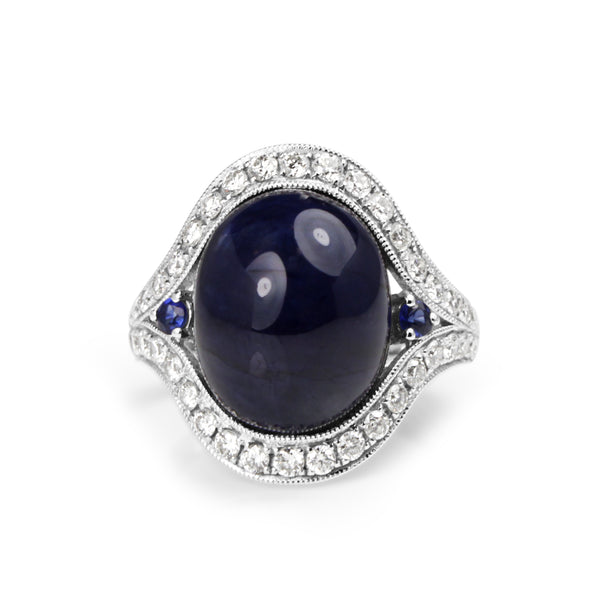 18ct White Gold Cabochon Sapphire and Diamond Ring