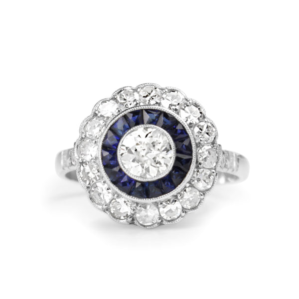 Platinum Art Deco Sapphire and Diamond Target Ring