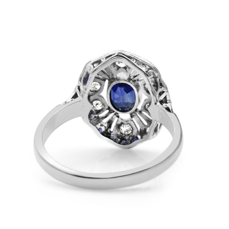 14ct White Gold Art Deco Sapphire and Diamond Ring
