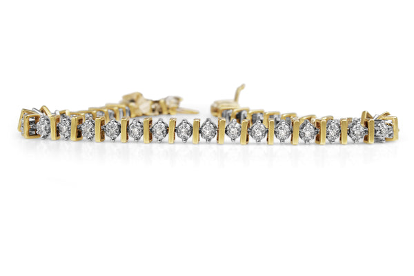 10ct Yellow and White Gold Diamond Tennis Bracelet