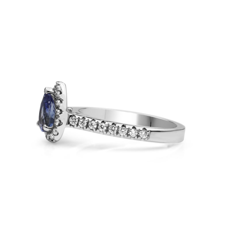 18ct White Gold Sapphire and Diamond Pear Halo Ring