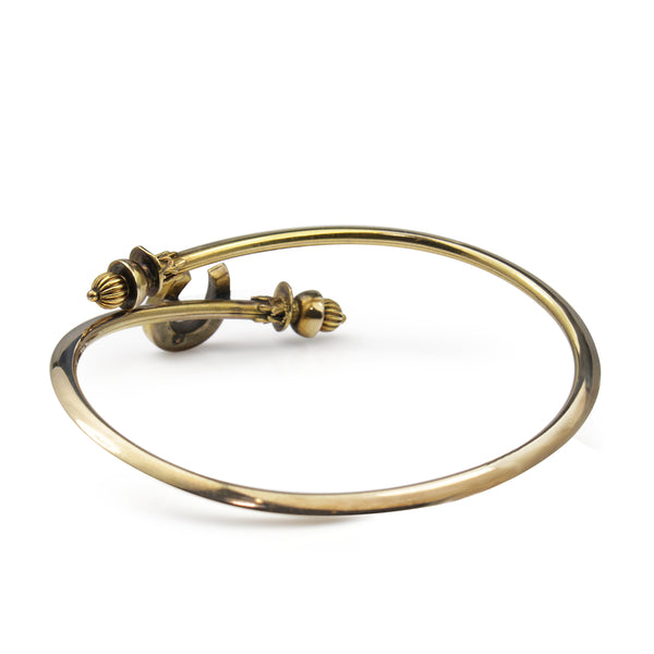9ct Yellow Gold Antique Sapphire and Pearl Horse Shoe Bangle