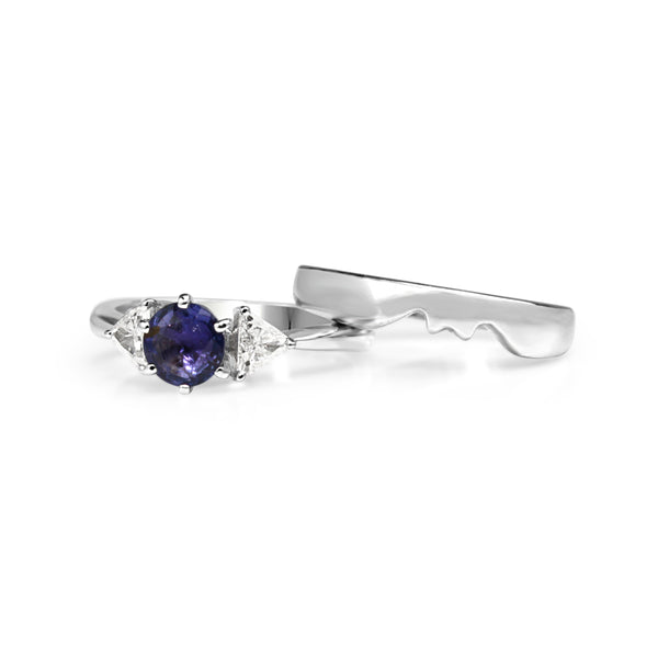 18ct White Gold Sapphire and Diamond Ring Set