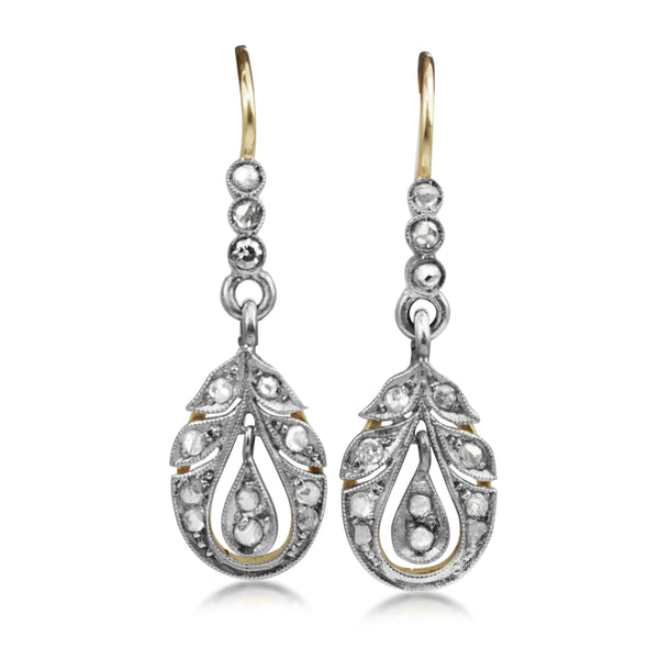 18ct Yellow and White Gold Antique Old Cut Diamond Earrings
