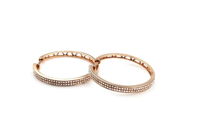14ct Rose Gold Large Diamond Hoop Earrings