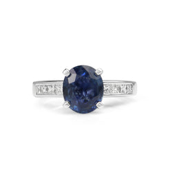 Platinum Sapphire and Diamond Solitaire Ring