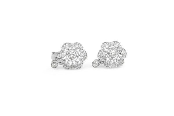 18ct White Gold Deco Style Diamond Drop Earrings