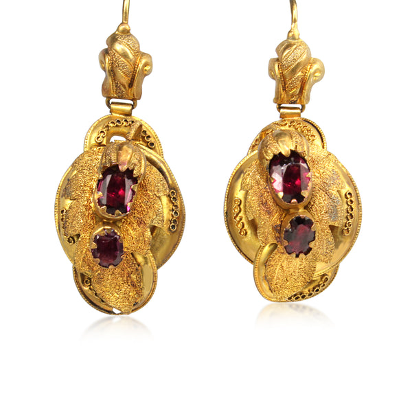 15ct Yellow Gold Antique Georgian Garnet Earrings