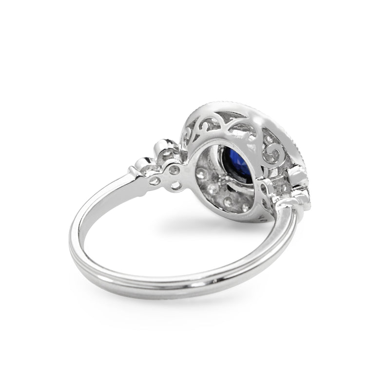 18ct White Gold Deco Style Sapphire and Diamond Ring
