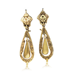 14ct Yellow Gold Victorian Drop Earrings