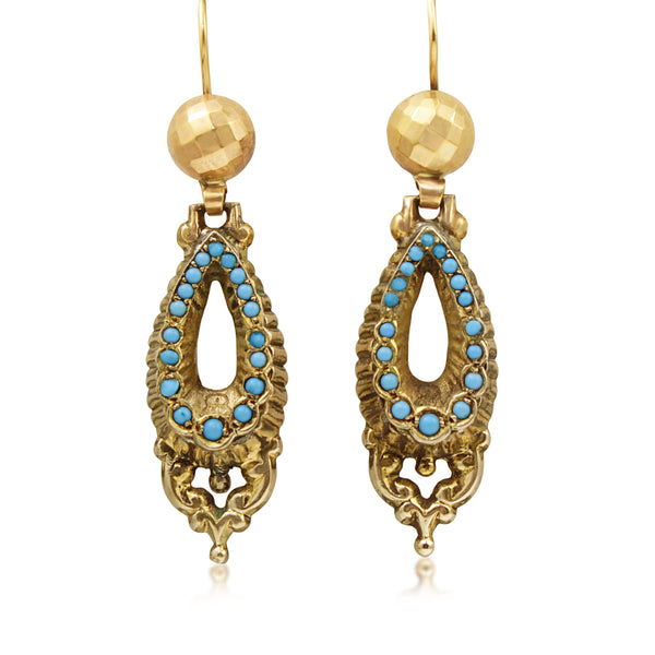 9ct Yellow Gold Antique Turquoise Earrings