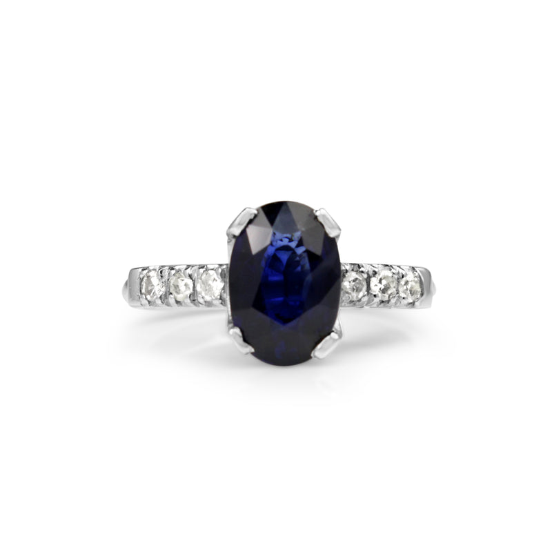 Platinum Vintage Sapphire and Diamond Solitaire Ring
