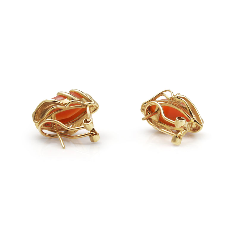 14ct Yellow Gold Coral and Diamond Earrings