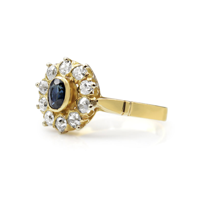 18ct Yellow Gold Antique Sapphire and Diamond Cluster Ring