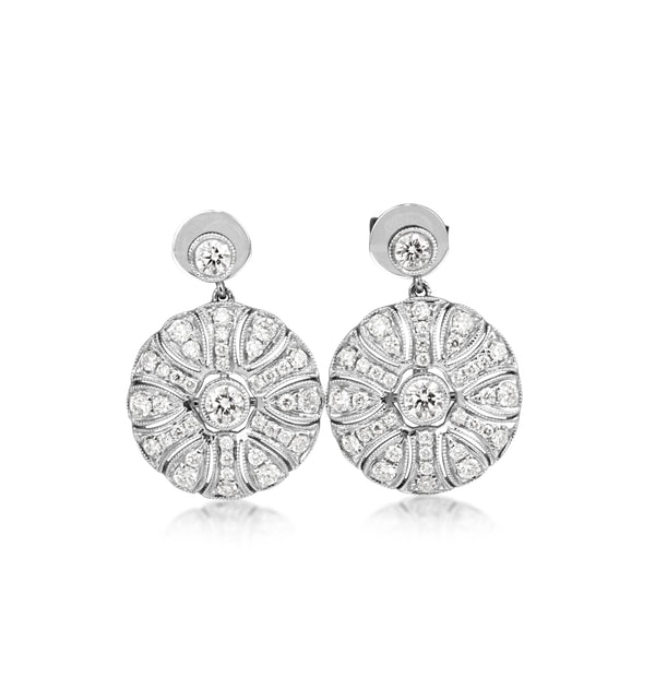 18ct White Gold Art Deco Style Diamond Drop Earrings