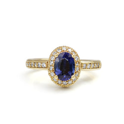 14ct Yellow Gold Blue and White Sapphire Halo Ring