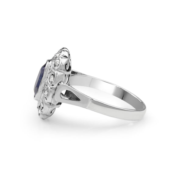 14ct White Gold Antique Sapphire and Diamond Ring