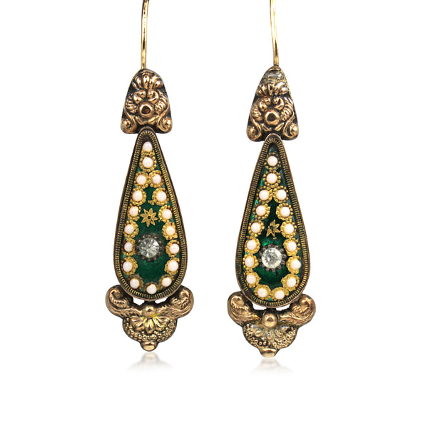 15ct Yellow Gold Antique Enamel, Opal and Paste Earrings