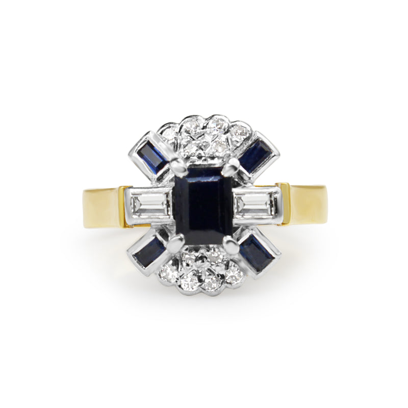 18ct Yellow and White Gold Vintage Sapphire and Diamond Ring