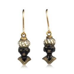 14ct Yellow Gold Victorian Blackamoor Earrings