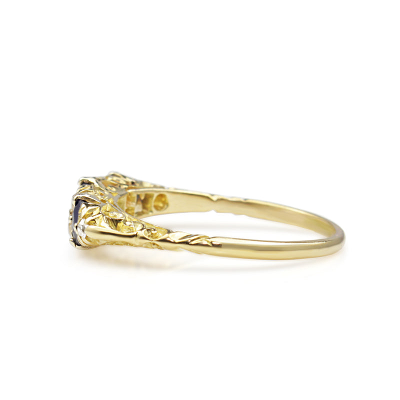 18ct Yellow Gold Antique Sapphire and Diamond Ring