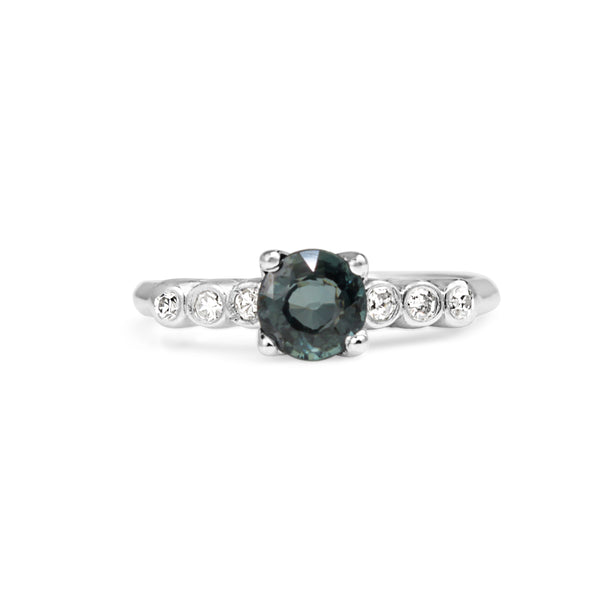 Platinum Deco Teal Sapphire and Diamond Ring