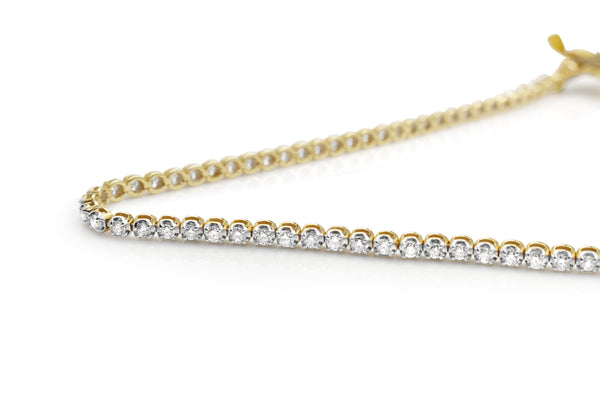 9ct Yellow and White Gold Diamond Tennis Bracelet
