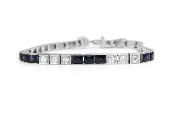 Platinum Deco Sapphire and Diamond Bracelet