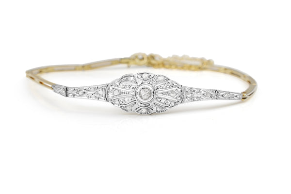18ct Yellow and White Gold Art Deco Diamond Bracelet