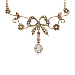 9ct Gold Antique Aquamarine, Pearl and Amethyst Bow Necklace