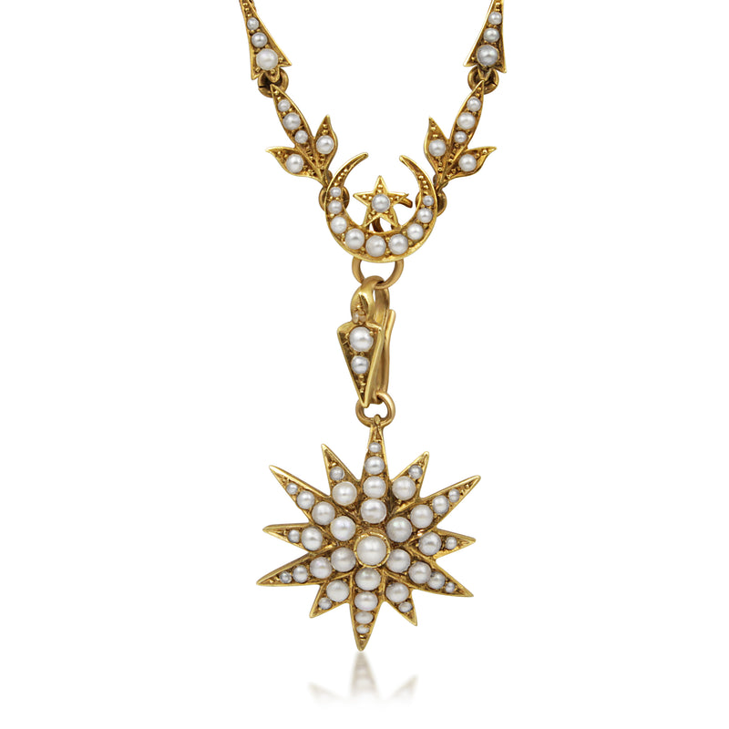 15ct Yellow Gold Victorian Pearl Starburst Necklace