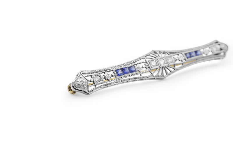 14ct Yellow and White Gold Antique Sapphire and Diamond Brooch