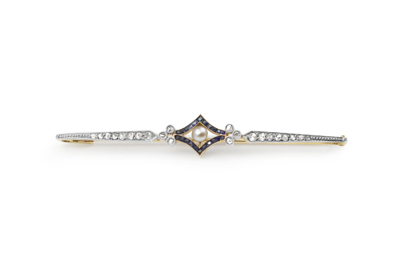 18ct Yellow Gold and Platinum Antique Sapphire, Pearl and Rose Cut Diamond Brooch