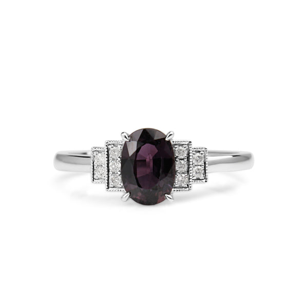 18ct White Gold Pink / Purple Sapphire and Diamond Ring