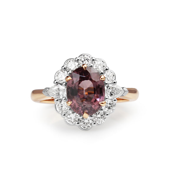 18ct Rose and White Gold Pink Sapphire and Diamond Daisy Ring